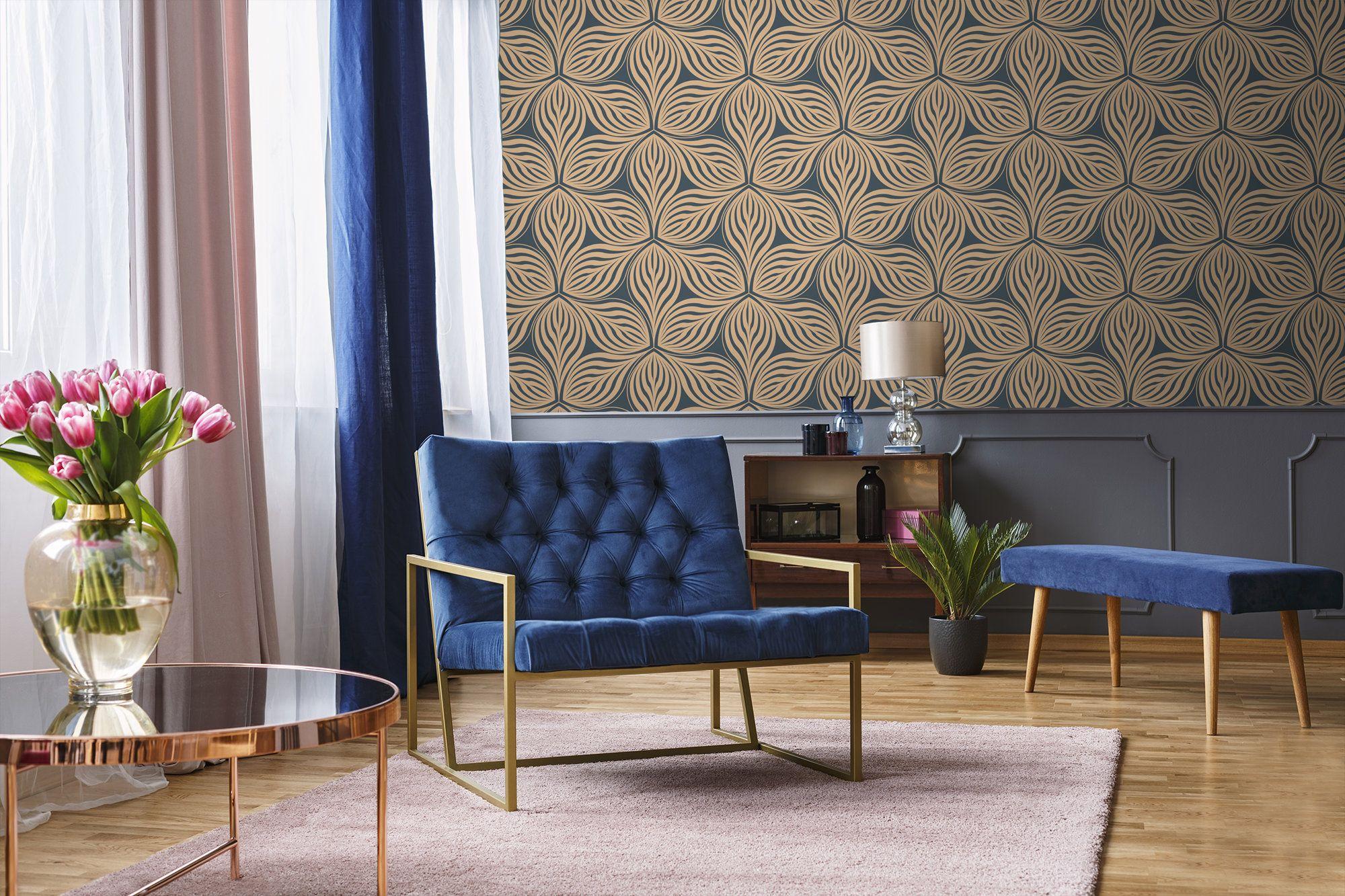 Abstract leaves wallpaper, self adhesive wallpaper