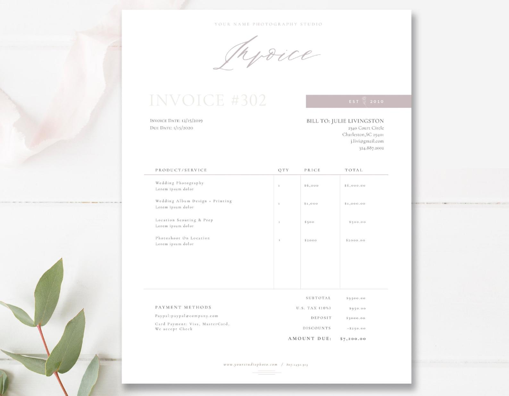 Invoice Design Receipt Photography Invoice For Photoshop Etsy Photography Invoice Invoice Design Photography Invoice Template