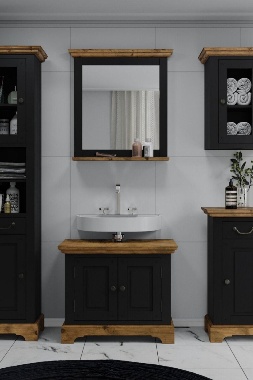 Waschbeckenunterschrank Kenia Schwarz In 2020 Waschbeckenunterschrank Badezimmer Design Schrank