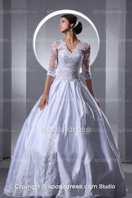 New Design V Neckline Huge Vintage Ball Gown Wedding Dress With ...