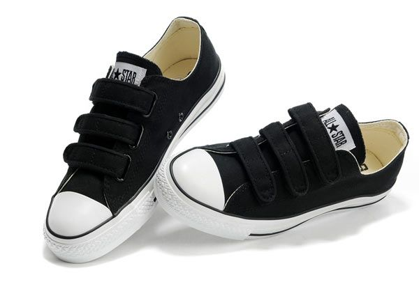 Classic Low Top Converse All Star Velcro Black Canvas