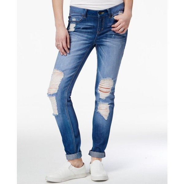 a045dbe55ab Rewash Juniors' Ripped Cuffed Skinny Jeans ($30) ❤ liked on Polyvore  featuring jeans, blue, blue jeans, white destroyed skinny jeans, ripped  jeans, ripped ...