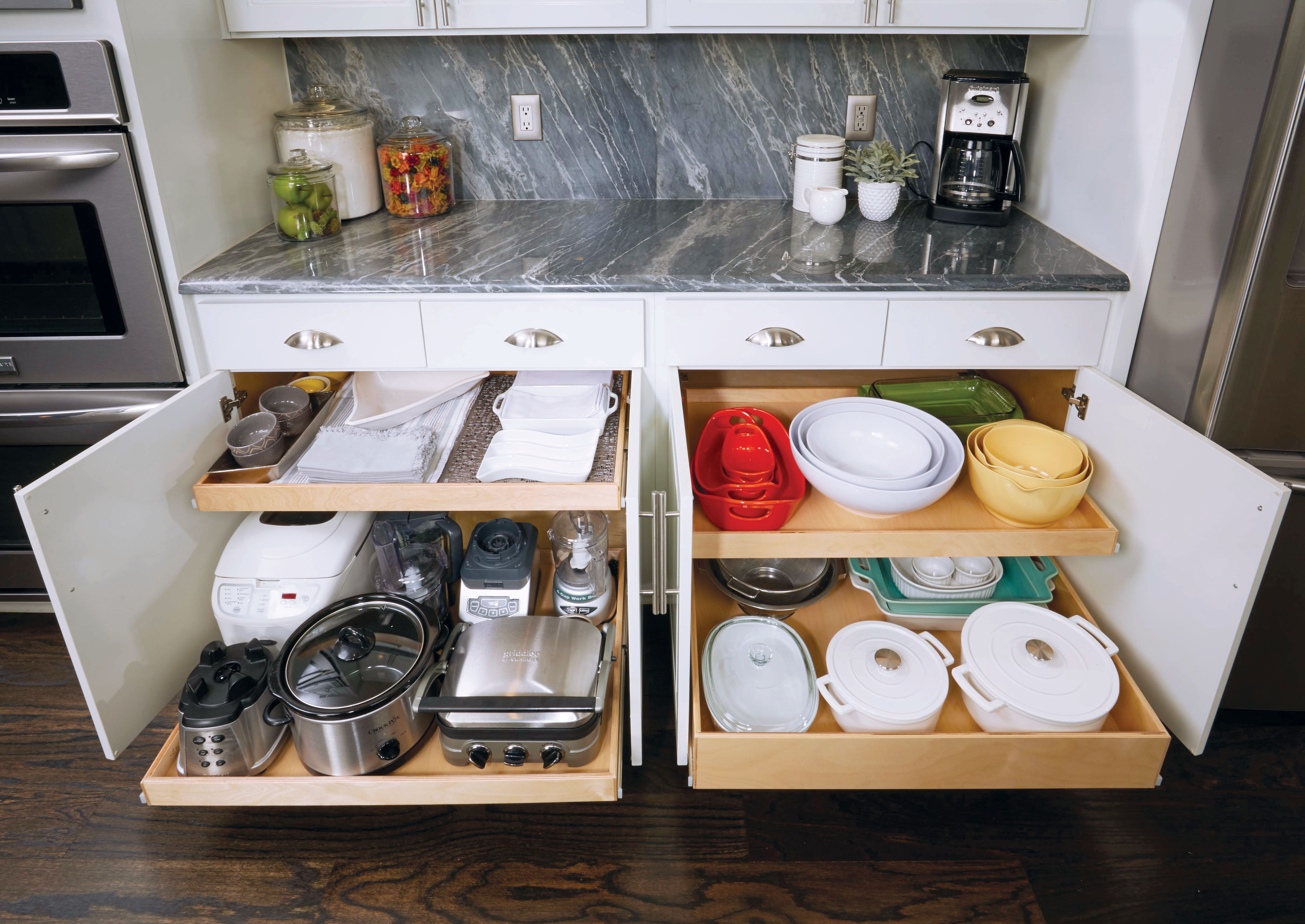 Did You Know That Shelfgenie S Shelves Can Hold Up To 100 Lbs Of Weight Each Perfect For Heavy Kitch Kitchen Solutions Pull Out Shelves Redo Kitchen Cabinets