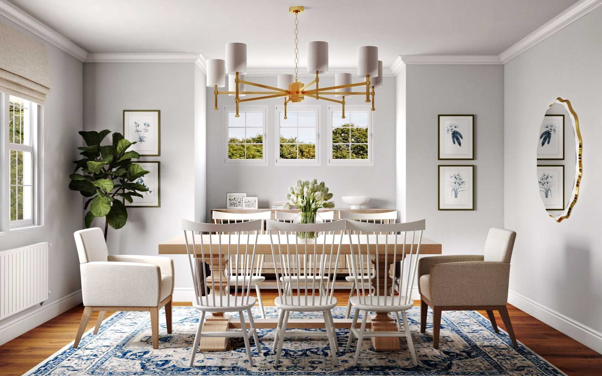 Classic Transitional Dining Room Design By Havenly Interior Designer Katie In 2021 Dining Room Design Online Interior Design Transitional Dining Room Designs