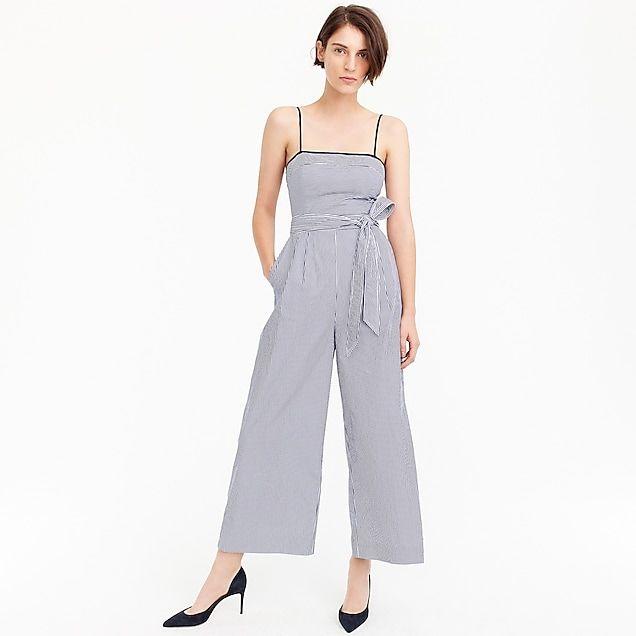 98346785ecb women s striped linen jumpsuit with tie - women s dresses