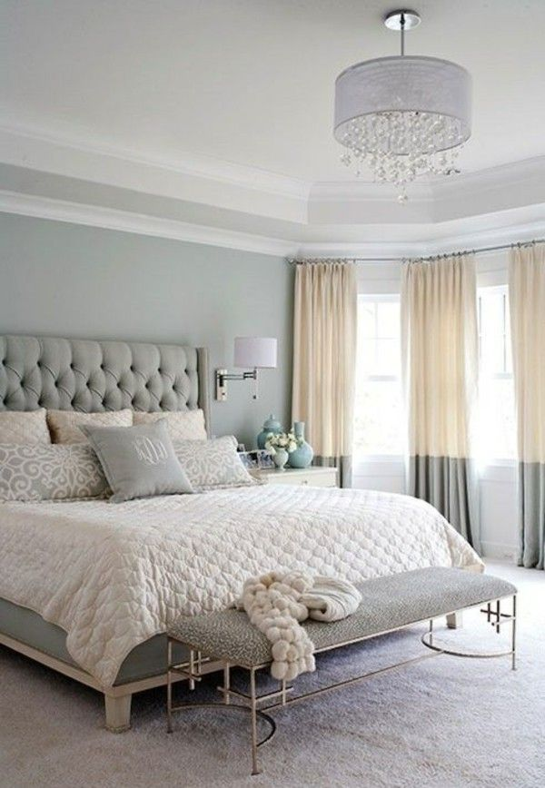 Bedroom furnishings upholstered bed curtain ideas, two-tone | Master ...