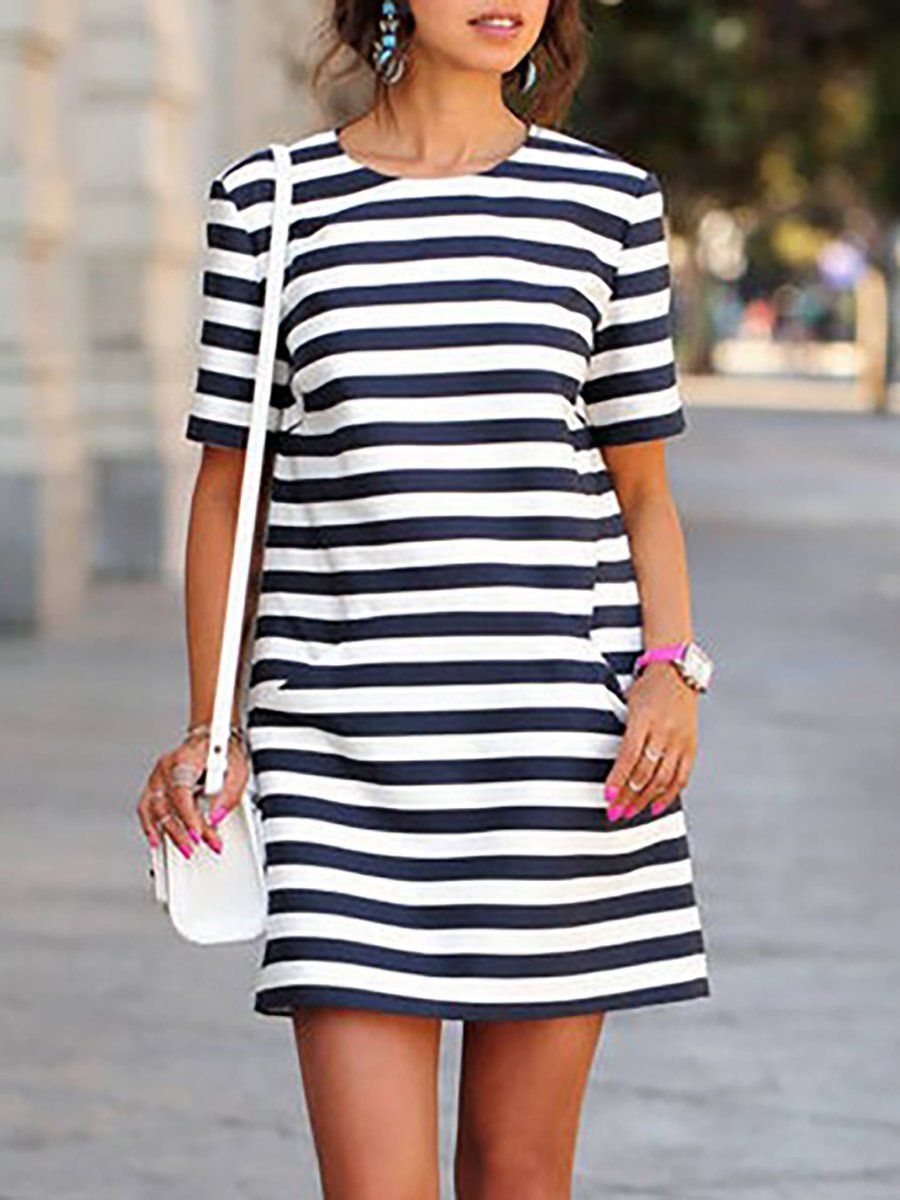 331fd025a4c JustFashionNow Crew Neck Black-white Women Casual Dress Daily Dress Short  Sleeve Casual Paneled Striped