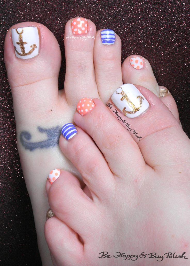 nautical toe nail art toe nail art designs pinterest