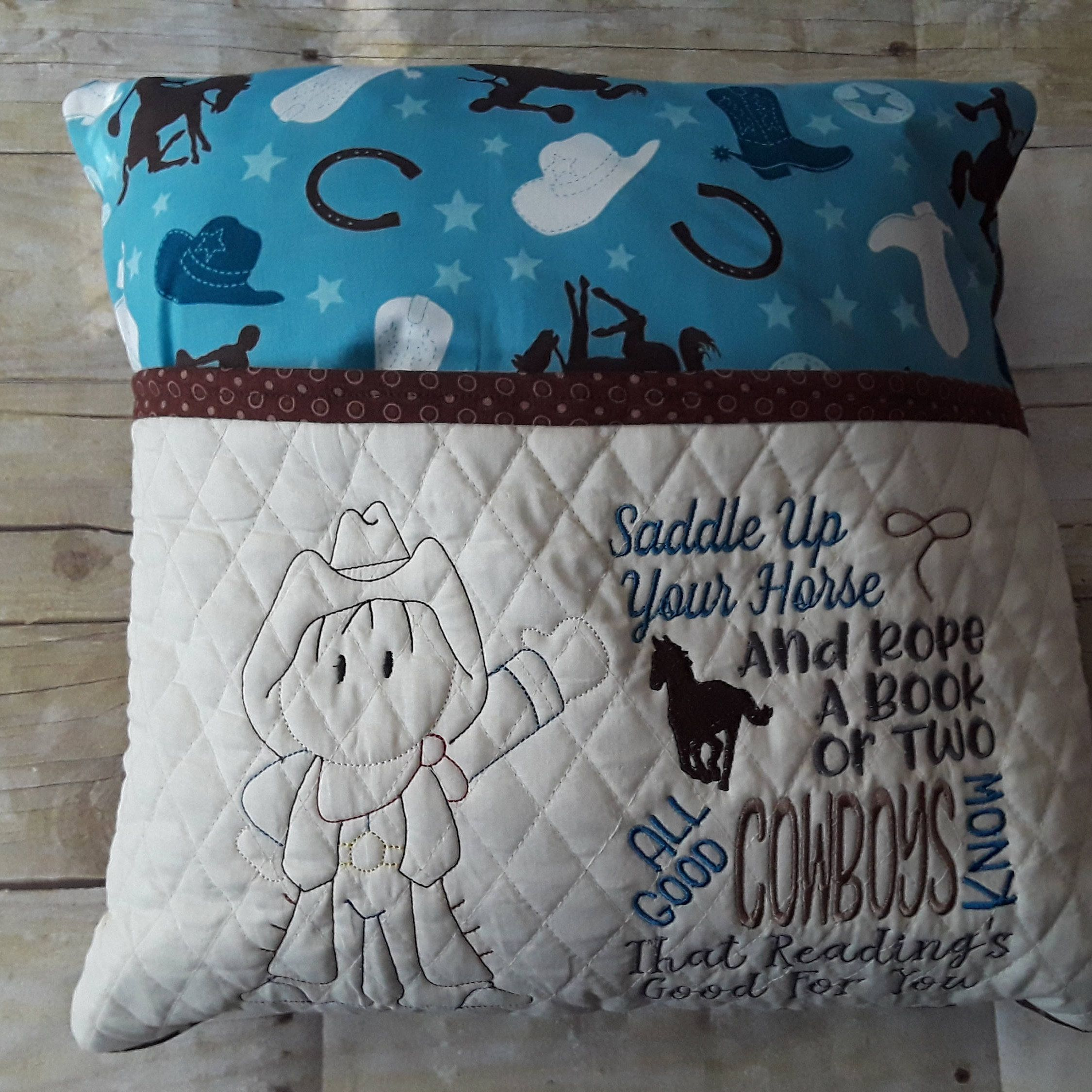 Cowboy Reading Pillow Book Pocket Boy Gift For Readers Kids Birthday