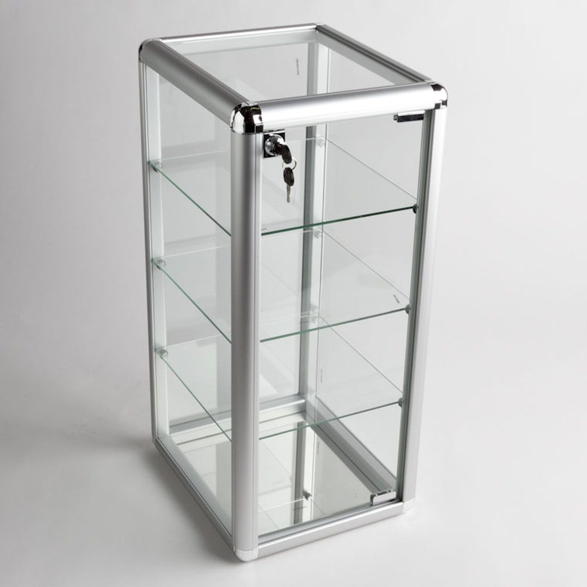 Glass Counter Top Aluminum Frame Display Case With 3 Shelves