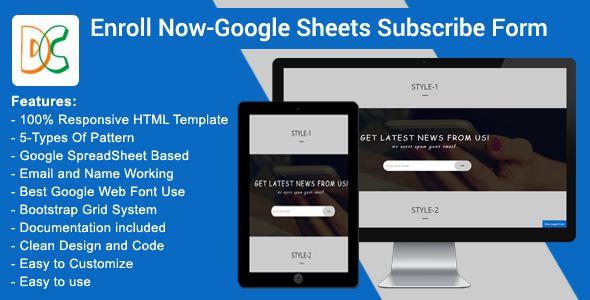 Enroll Now - Google Spreadsheet Subscribe Form - spreadsheet google form