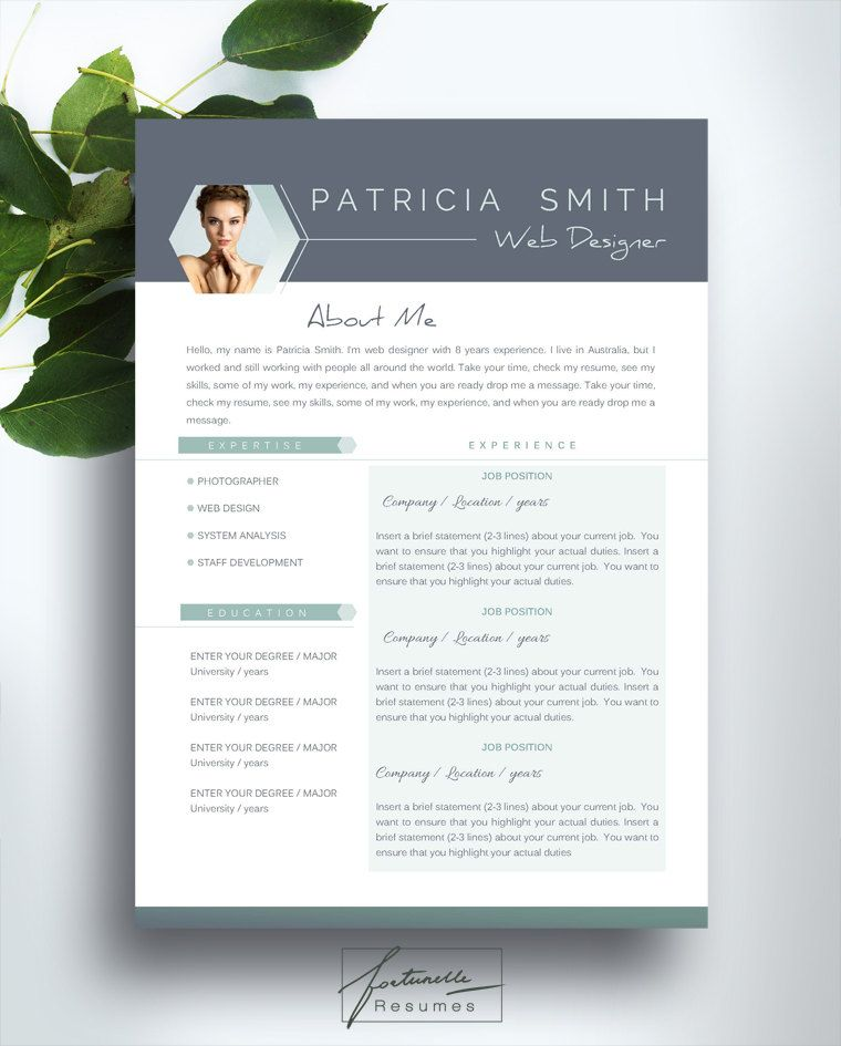 resume template 3 page    cv template   cover letter    instant download for ms word     u0026quot patricia
