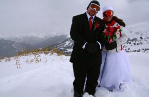 Marcus and Colleen Williams were one of 60 couples to either get married, or renew vows, at Loveland Ski Area's Mountaintop Matrimony ceremony February 14, 2012.   (Photo Credit: Loveland Ski Area)