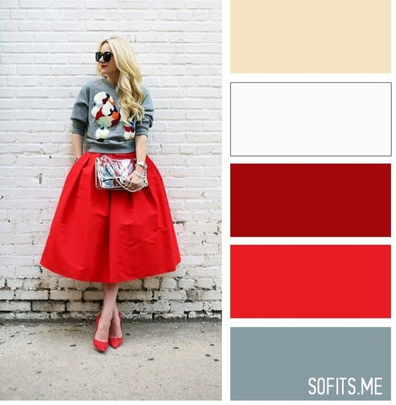 Grey sweater and red skirt - LadyStyle