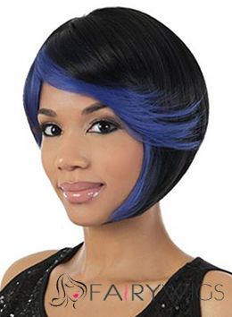 Prevailing Short Wavy Black Side Bang African American Wigs for Women 12 Inch