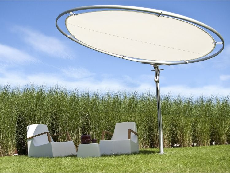 Sonnenschutz Garten beschattung terrasse garten sonnenschutz elschirm elipse weiss