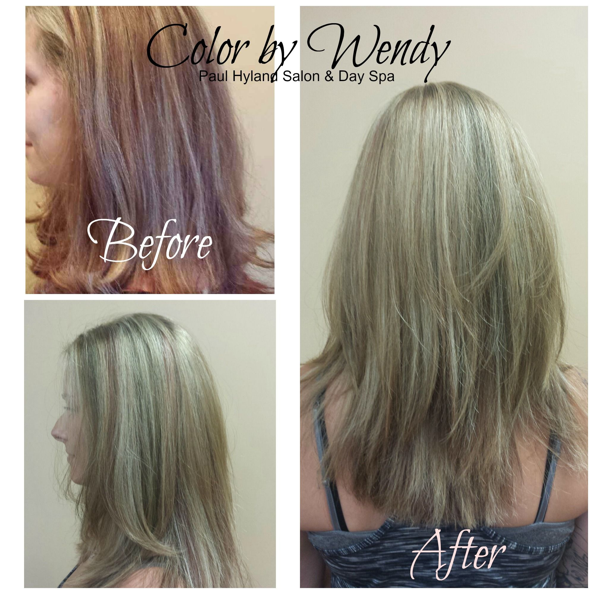 Wendy transformed her client's hair to this beautiful, lighter color, leaving a hint of the darker shades for interest.