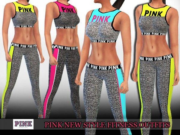 The Sims Resource: Pink Trendy Fitness Outfits by Saliwa • Sims 4 Downloads