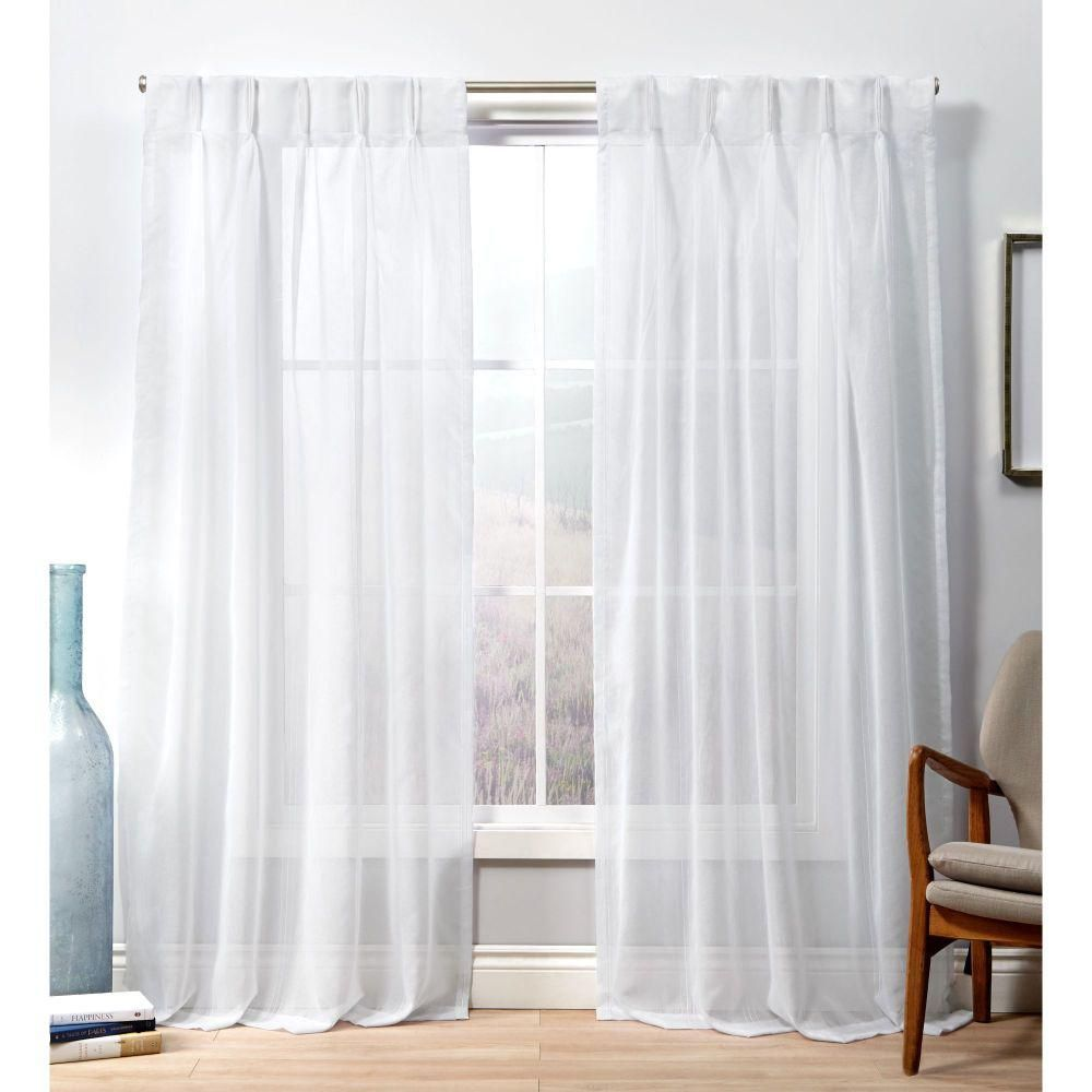 Exclusive Home Curtains Penny Pp Winter White Sheer Triple Pinch Pleat Top Curtain Panel 27 In W X 96 In L 2 Panel Eh8420 01 2 96p Home Curtains Pinch Pleat Curtains Pleated Curtains