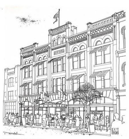 little street cafe scene adult coloring pages