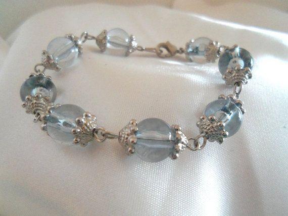 Bracelet  Very Light Blue Beaded Bracelet  by YouniquelyElegant