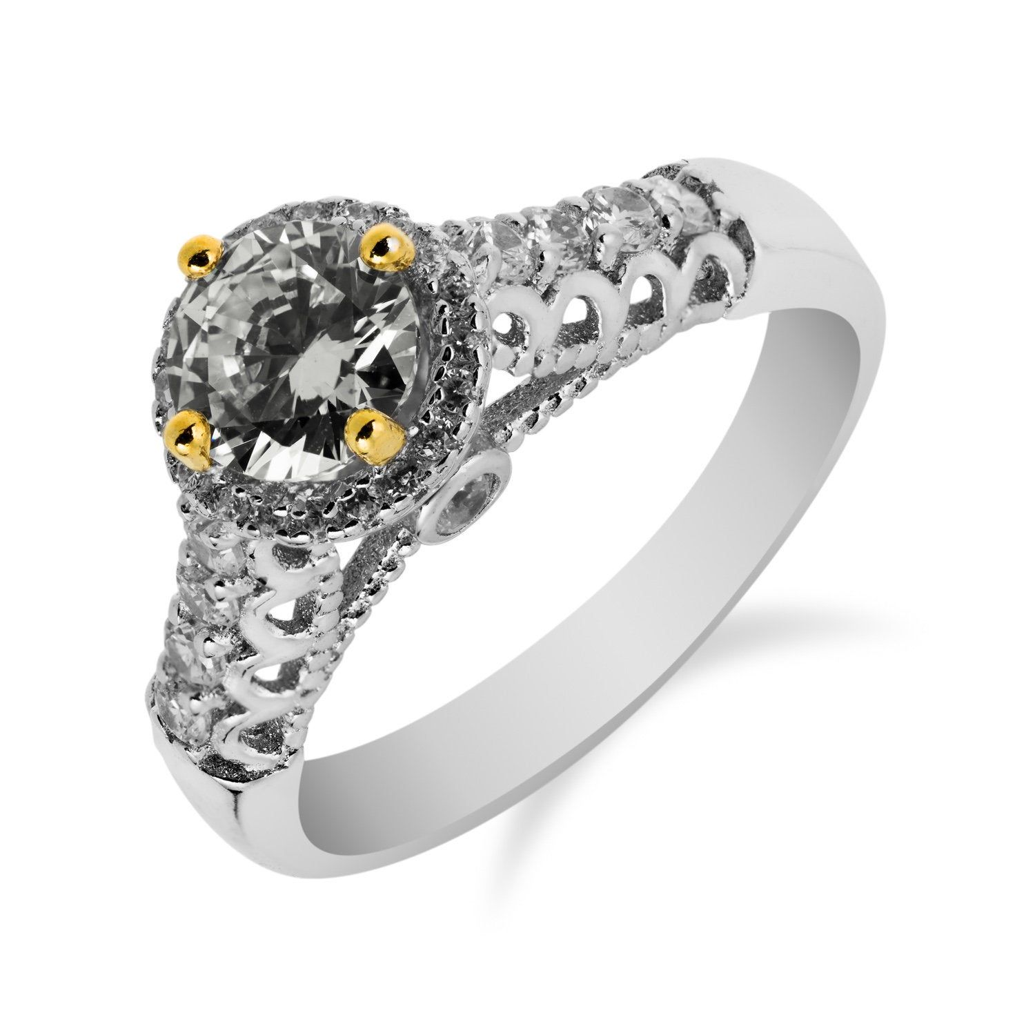 Solitaire Ring With Gold Points In 925 Sterling Silver With Cubic Zirconia In 2020 Silver Rings Handmade 925 Silver Rings Bridal Earrings Drop