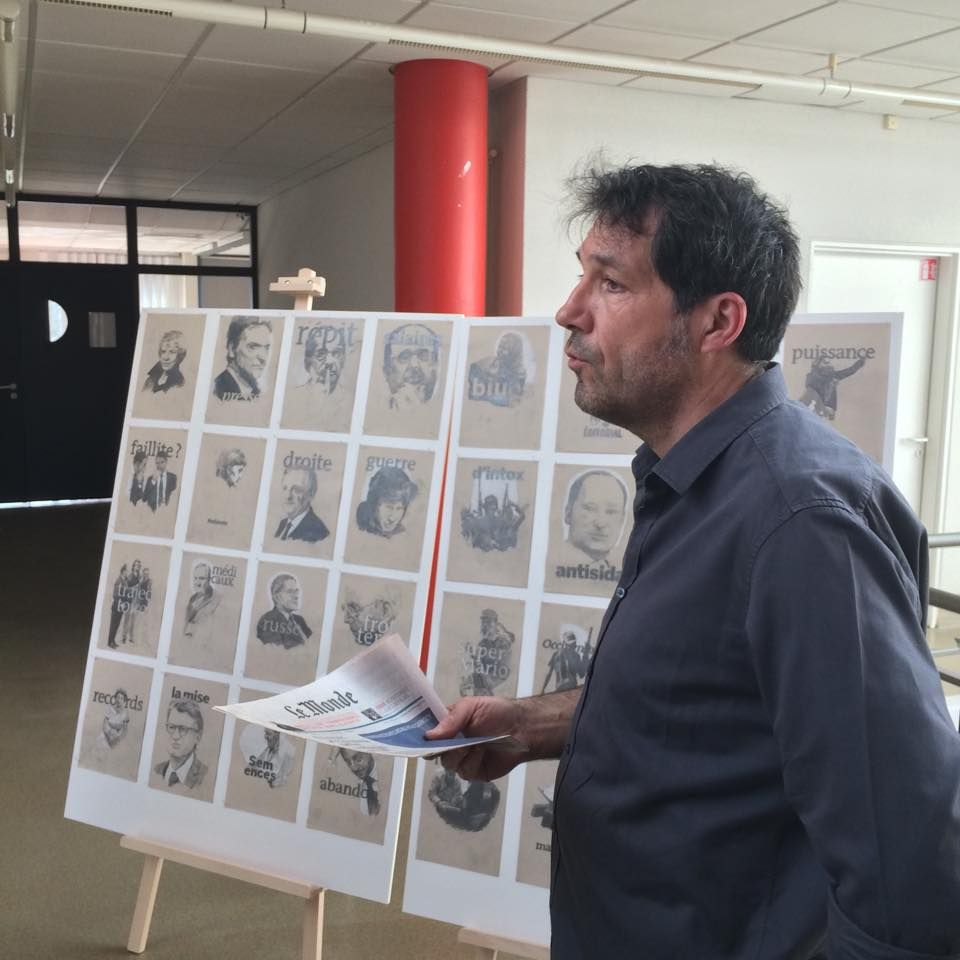 """[Semaine des arts] Hier c'était le lancement de l'exposition """"weltbilds/images du monde"""" par Bruno Lavelle  Expo visible du 13 avril au 15 mai à la bibliothèque de sevenans Plus d'infos sur l'artiste ici : http://www.2lfactory.com/"""