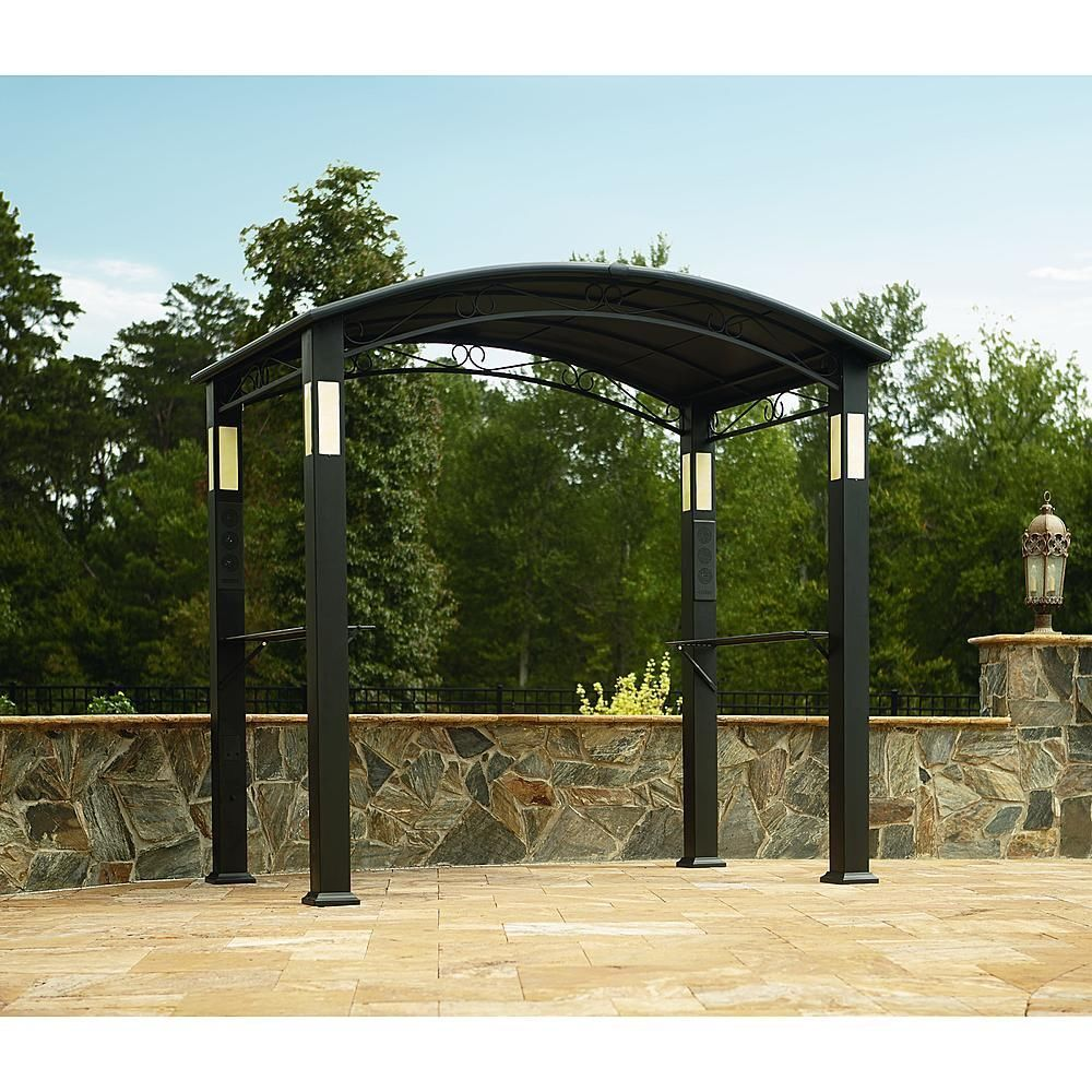Outdoor Gazebo Canopy BBQ Grill Pro Shelter Integrated Post Speakers And Lights & Outdoor Gazebo Canopy BBQ Grill Pro Shelter Integrated Post ...
