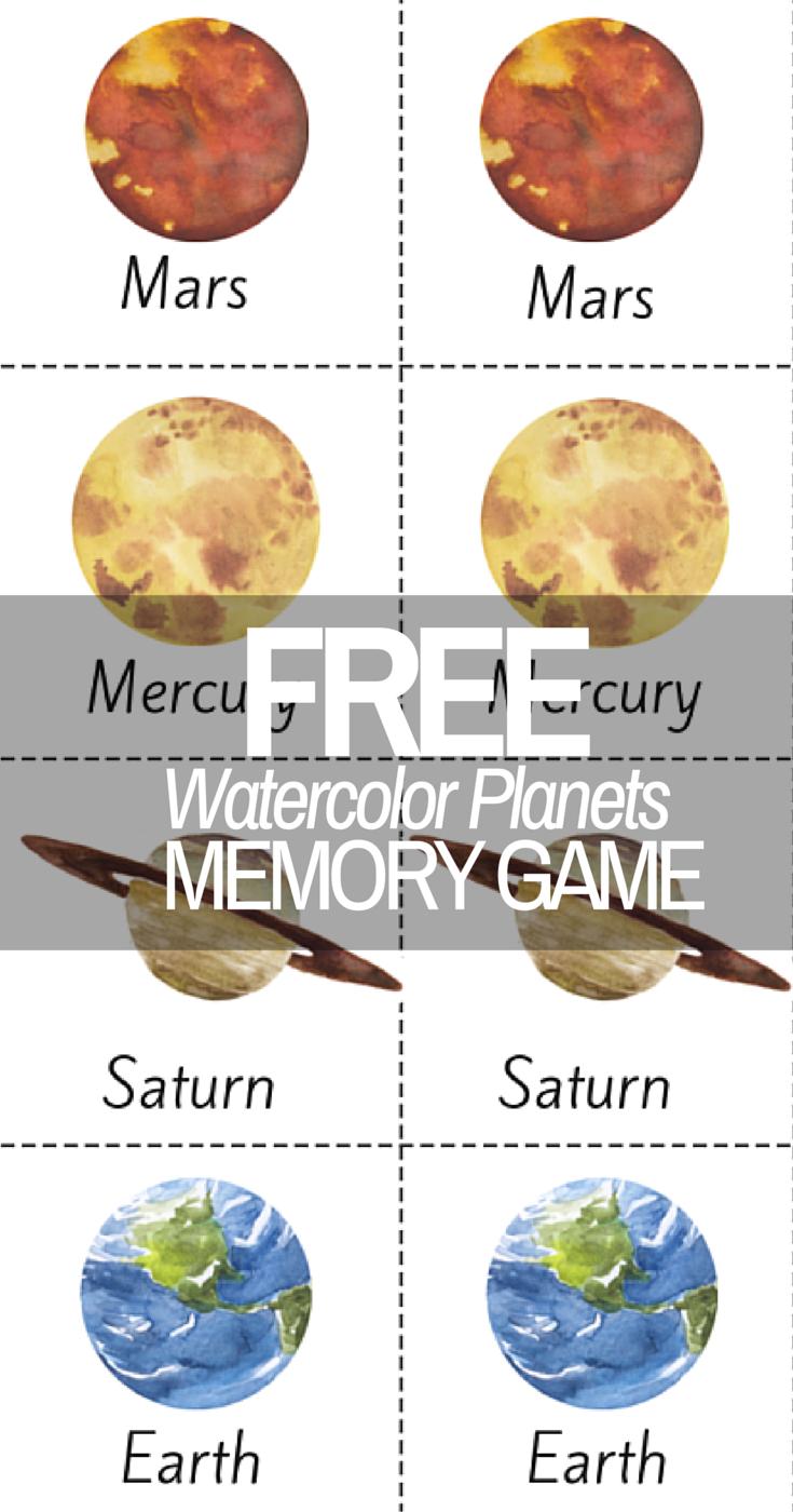 beautiful watercolor planet solar system printable memory game