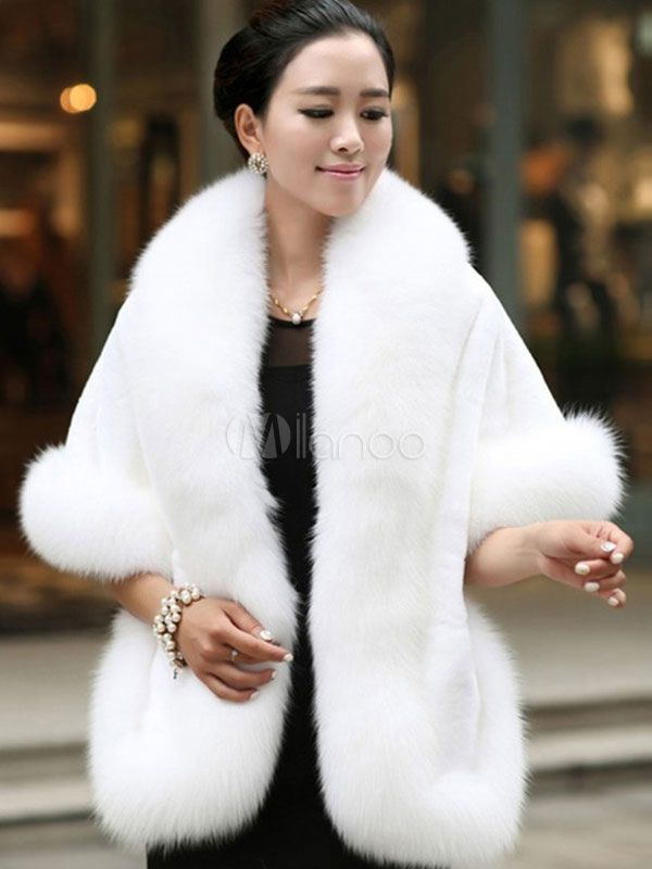 672d1187671a Faux Fur Jacket Women White Winter Wrap Shawl Poncho Cape Coat-No.2 ...
