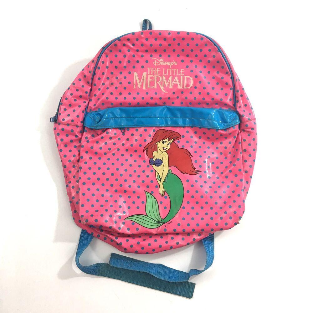 Vintage Disney The Little Mermaid Backpack School Book Bag Pink Blue Polka Dot