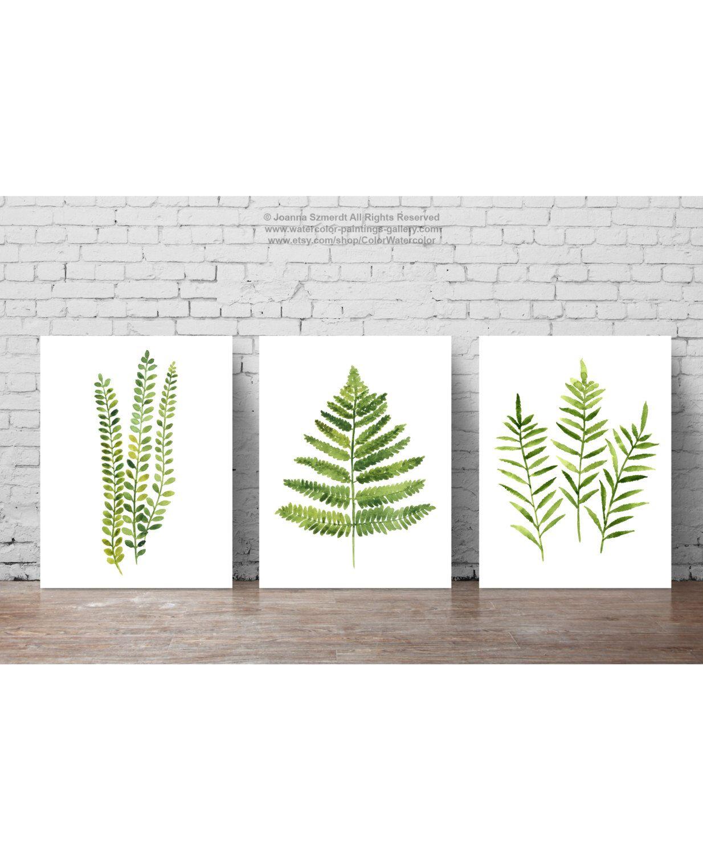 Fern Watercolor Painting set 3 Ferns Kitchen Art Print, Botanical ...