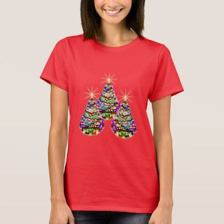 Sparkling Abstract Christmas Trees Design on Red T-Shirt - click to