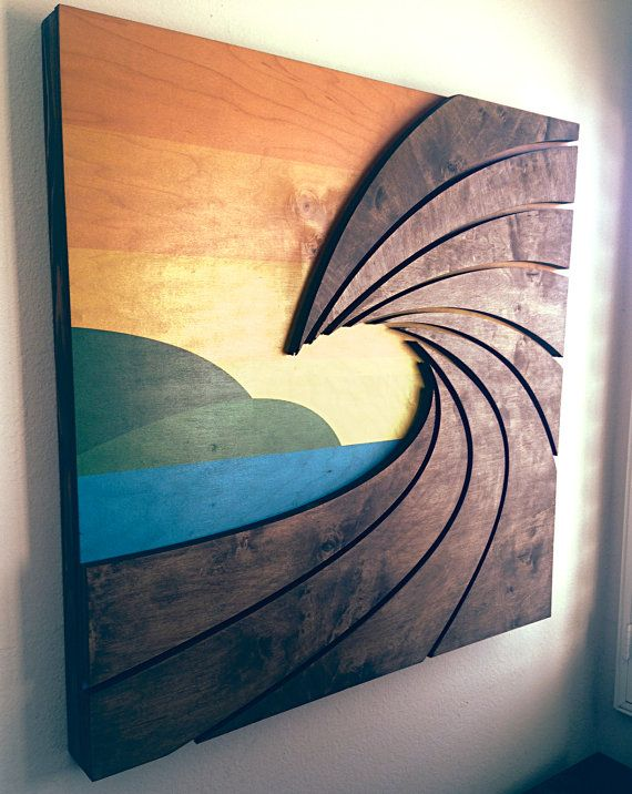The Point Wave Art Wood Sculpted Wall Hanging Artwork Home