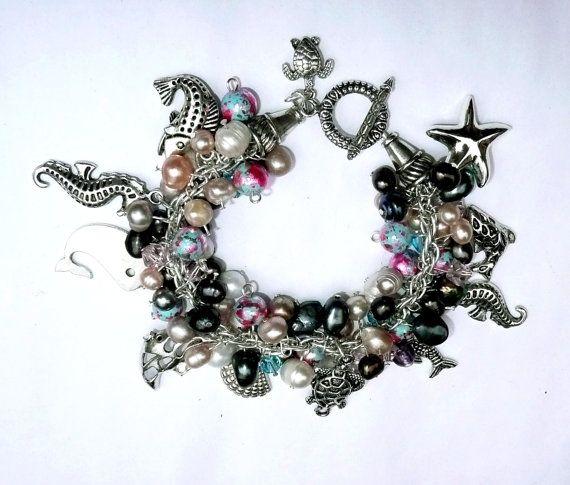 Genuine Multi Colored Pearl & Swarovski Crystal by IslandGirl77, $45.99