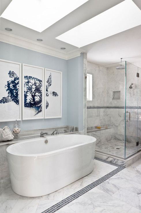 Wall Paint Color Is Benjamin Moore Blue Lace Stunning Bathroom Design From Christine Huve Interior