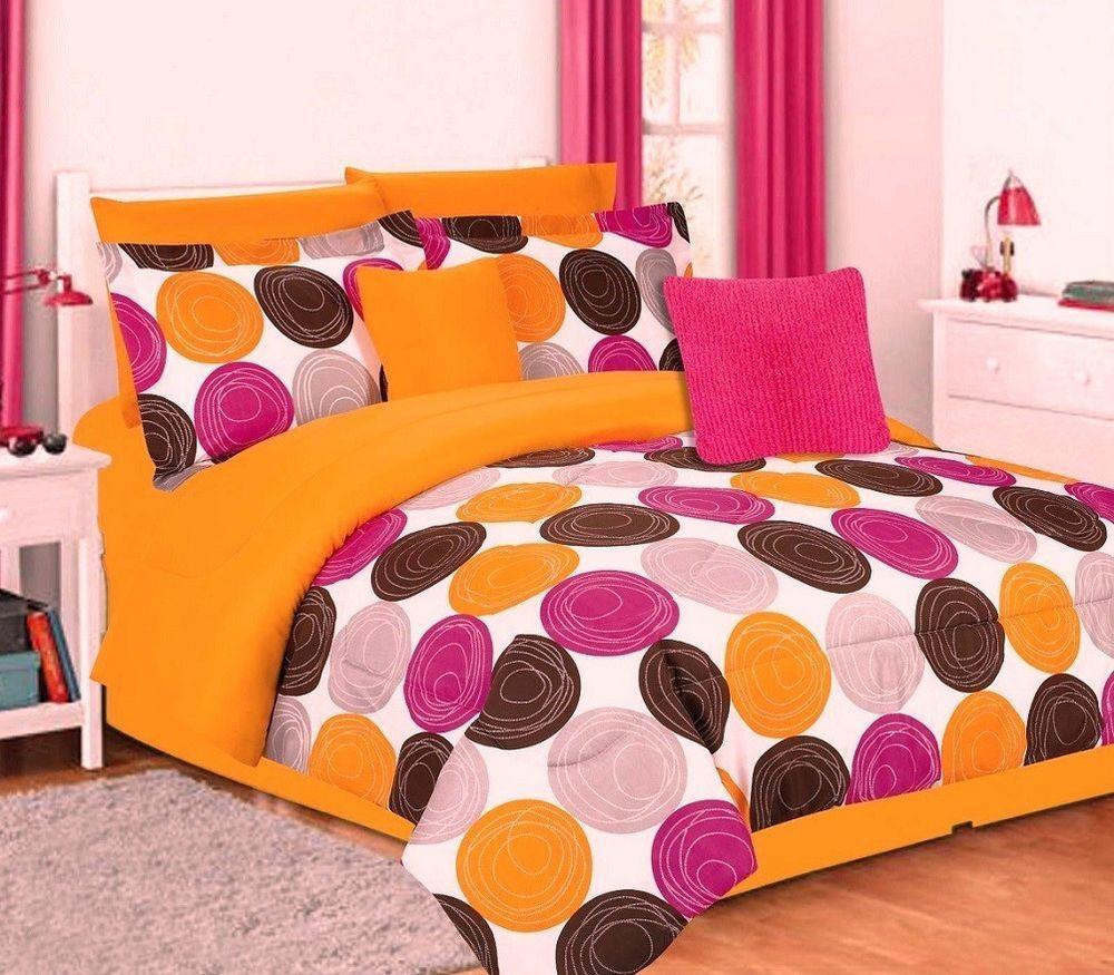 girls twin bedding set orange hot pink brown circles teen dorm comforter sham dorm comforters. Black Bedroom Furniture Sets. Home Design Ideas
