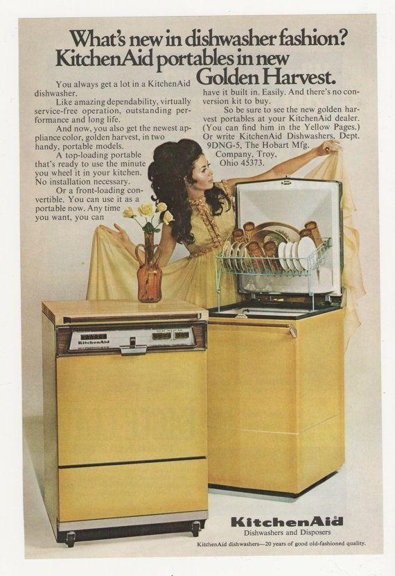 1974 Golden Harvest Dishwasher By Kitchen Aid By Fromjanet 5 00 Vintage Ads Vintage Appliances Vintage Advertisements