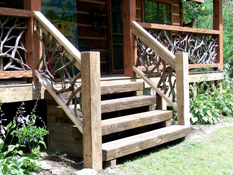 Log Railing And Stairs Custom Made By Appalachian Designs Rustic Stairs Wooden Stairs Outdoor Stairs