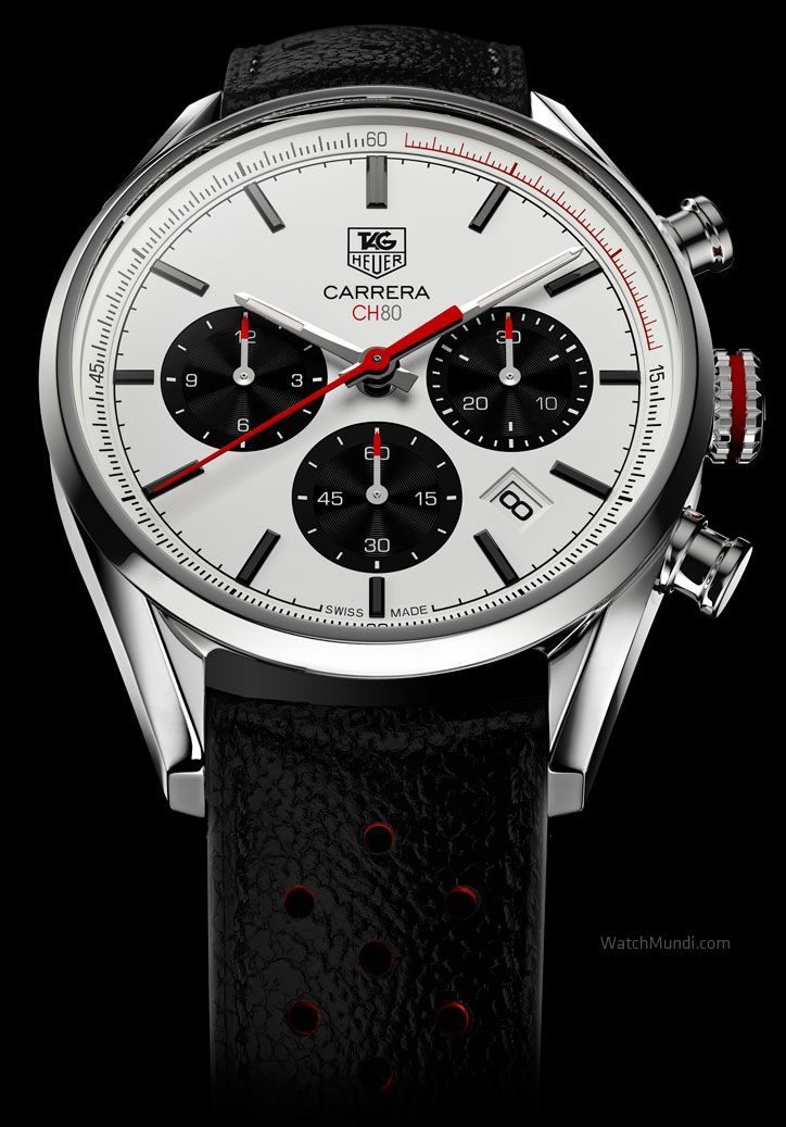 TAG HEUER - CARRERA CALIBRE CH 80 CHRONOGRAPH. Inspired by the first generation of Carrera watches, the Carrera Calibre CH 80 Chronograph reinterprets the aesthetic codes established by its illustrious forebears, giving them a modern and sporty twist.