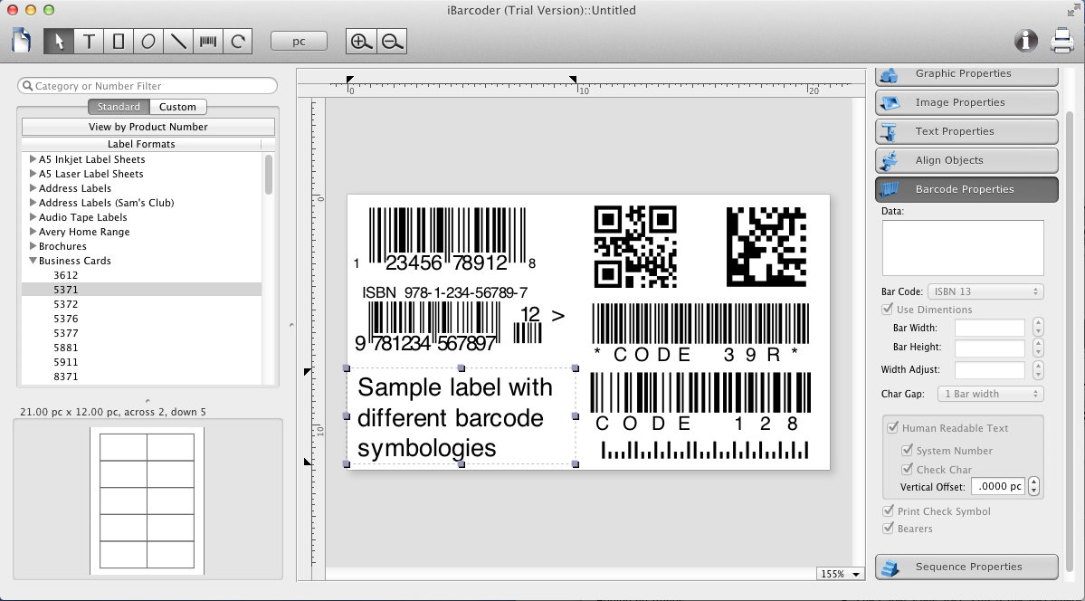 Ibarcoder For Mac Main Screen Laser Labels Business Brochure Software Apps