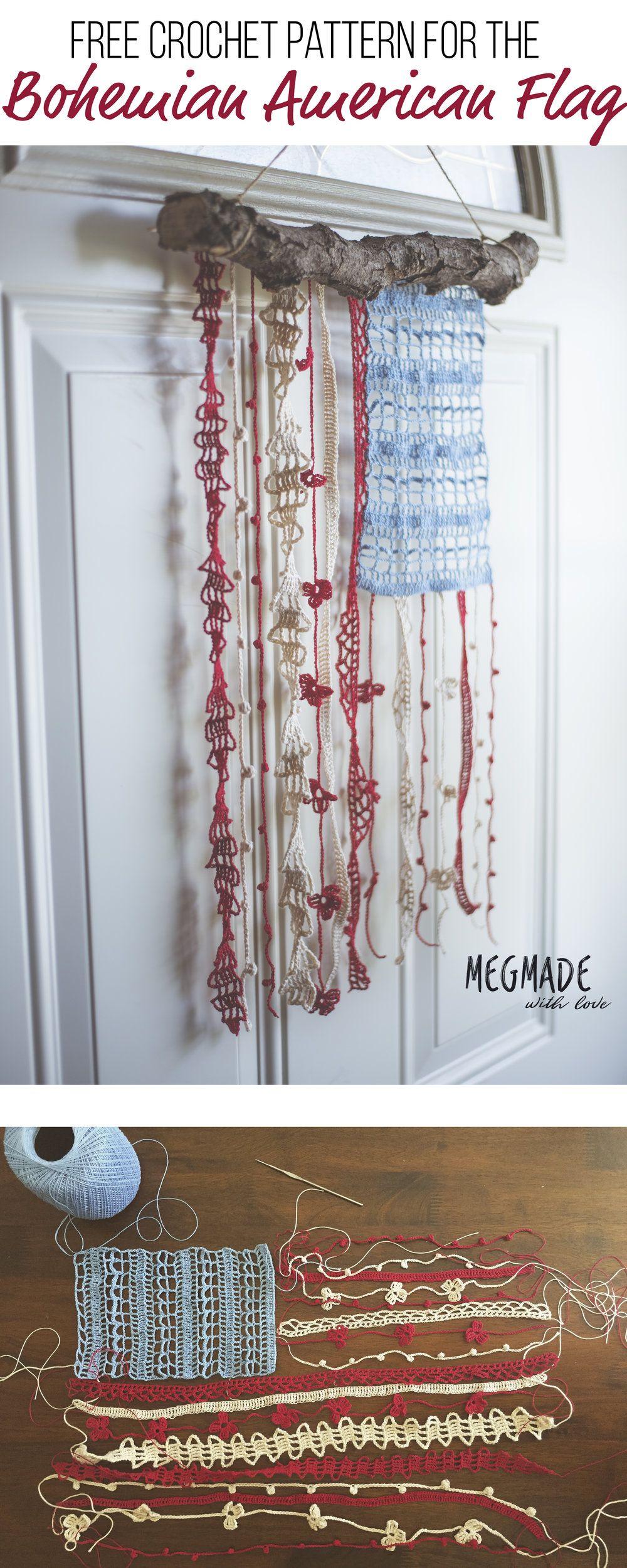 Bohemian American Flag Crochet Pattern | Couture, Ganchillo y Amar