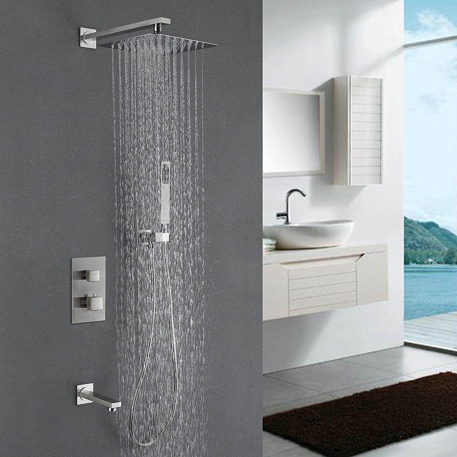 Himk Shower System Shower Faucet Set With Tub Spout 10 Inch Rainfall Combo Set Showers Ideas Of Showe Rain Shower System Shower Systems Shower Faucet Sets