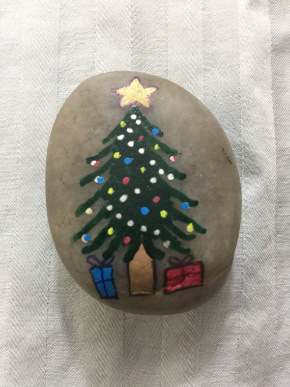 Hand Painted River Rock Christmas Tree By Thevintagetortoiseus Christmas Tree Painting Christmas Rock Painted Rocks Kids
