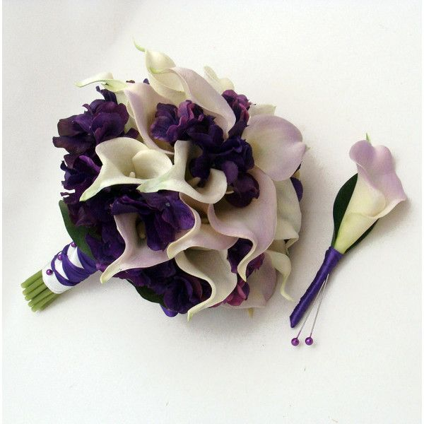 Real Touch Calla Lily Hydrangea Bridal by SongsFromTheGarden ($165) via Polyvore