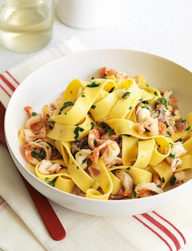 tagliatelle with prawns parma ham and parsley  recipe