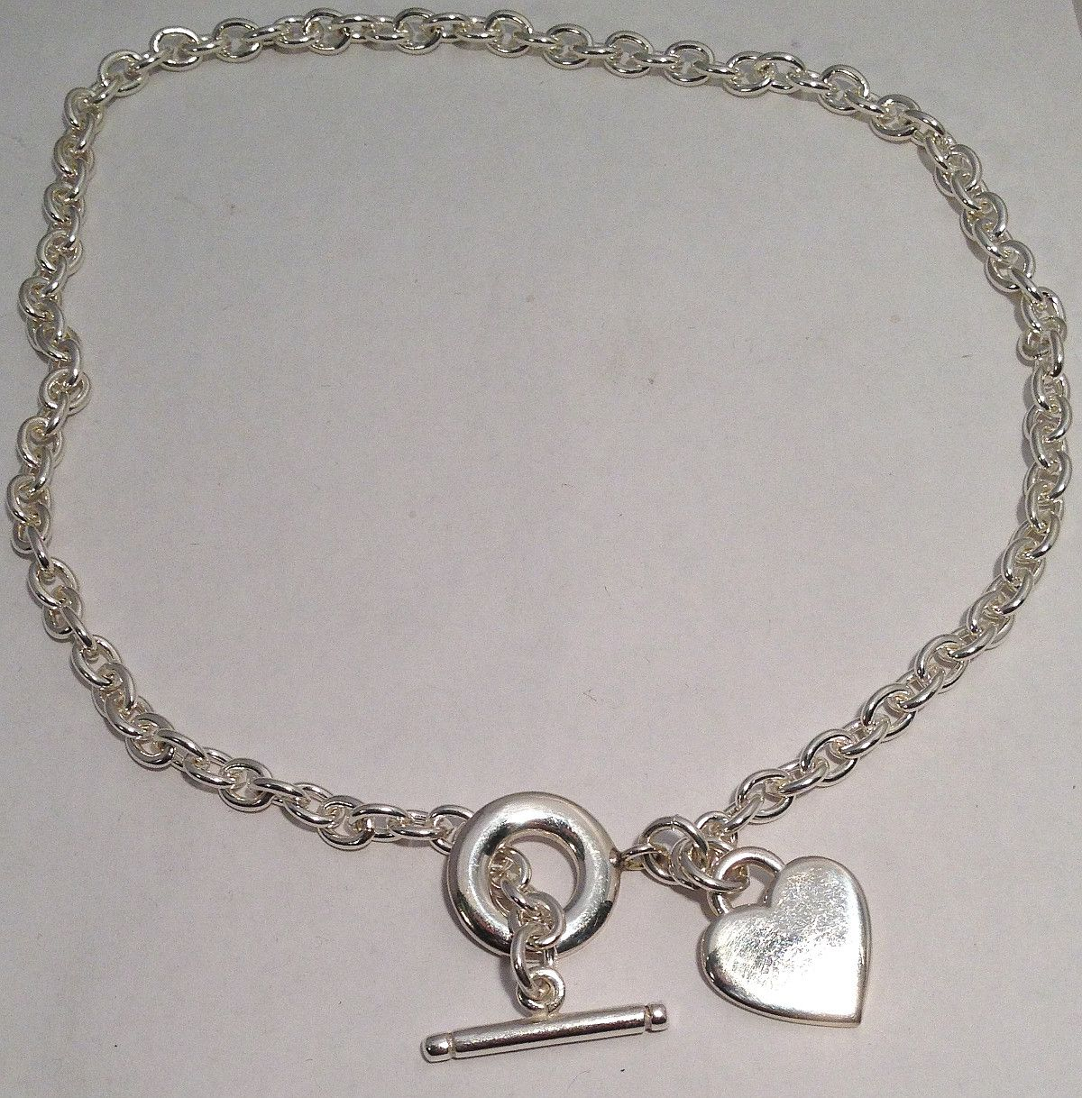 6ef3f3ccc Heart TAG Toggle Sterling Silver large Ladies Necklace. Iconic Heart  Pendant Tag T-Bar toggle clasp solid Belcher Chain.