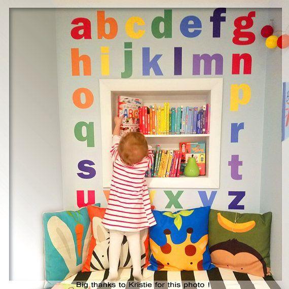 Alphabet Wall Decal Nursery Wall Decal Rainbow Alphabet