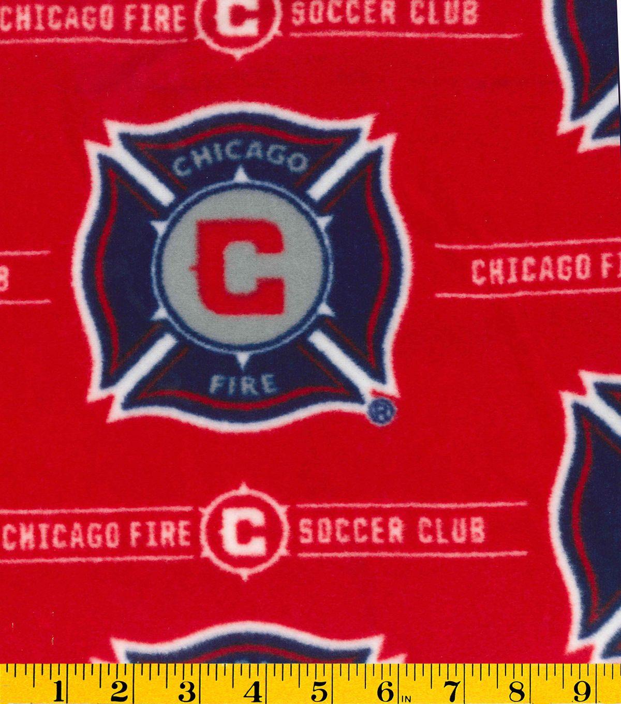Chicago fire soccer club fleece fabric