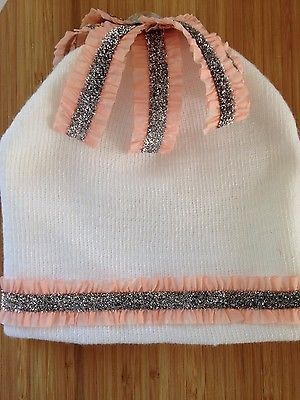 NEW-Baby-girl-winter-hat-0-6-months-bling-white-pink-sparkle-winter-fall